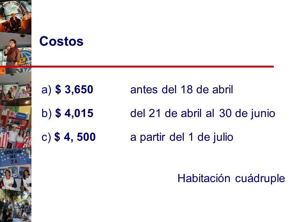 a) $ 3,650 antes del 18 de abril b) $ 4,015 del 21 de abril al 30 de junio c) $ 4, 500 a partir del 1 de julio Habitación cuádruple Costos