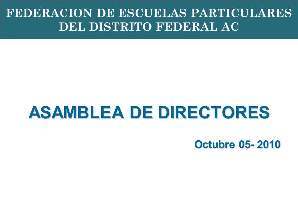 ASAMBLEA DE DIRECTORES Octubre 05- 2010 FEDERACION DE ESCUELAS PARTICULARES DEL DISTRITO FEDERAL AC