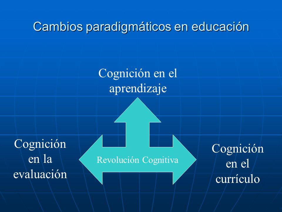 Cambios paradigmáticos en educación Revolución Cognitiva Cognición en el aprendizaje Cognición en el currículo Cognición en la evaluación