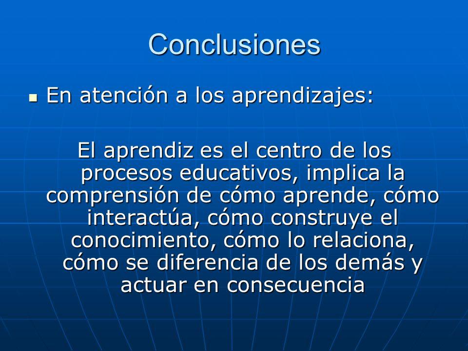 Conclusiones En atención a los aprendizajes: En atención a los aprendizajes: El aprendiz es el centro de los procesos educativos, implica la comprensión de cómo aprende, cómo interactúa, cómo construye el conocimiento, cómo lo relaciona, cómo se diferencia de los demás y actuar en consecuencia