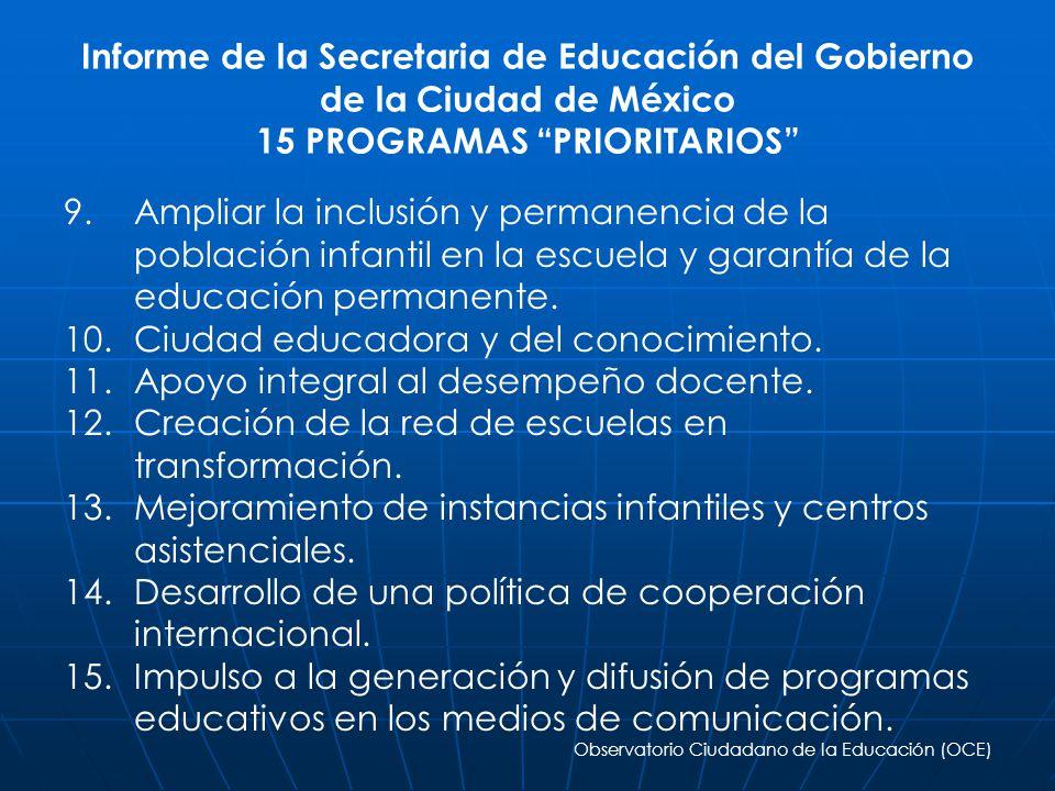 Informe de la Secretaria de Educación del Gobierno de la Ciudad de México 15 PROGRAMAS PRIORITARIOS 9. 9.Ampliar la inclusión y permanencia de la pobl