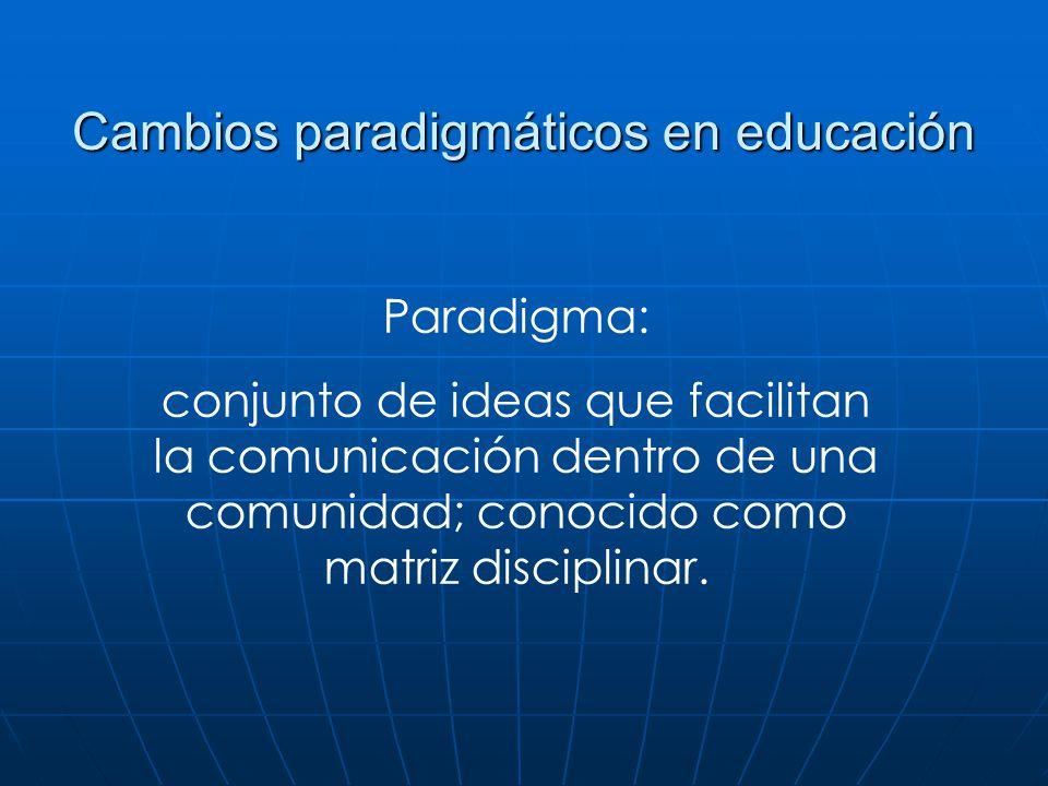 Cambios paradigmáticos en educación Paradigma: conjunto de ideas que facilitan la comunicación dentro de una comunidad; conocido como matriz disciplin