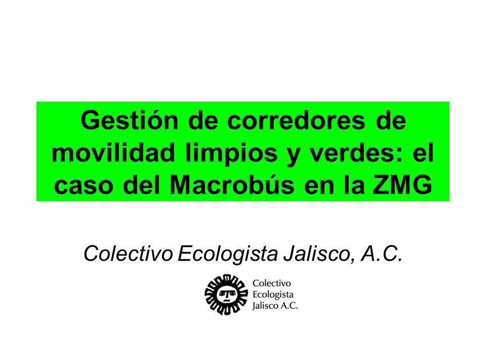 Gestión de corredores de movilidad limpios y verdes: el caso del Macrobús en la ZMG Colectivo Ecologista Jalisco, A.C.