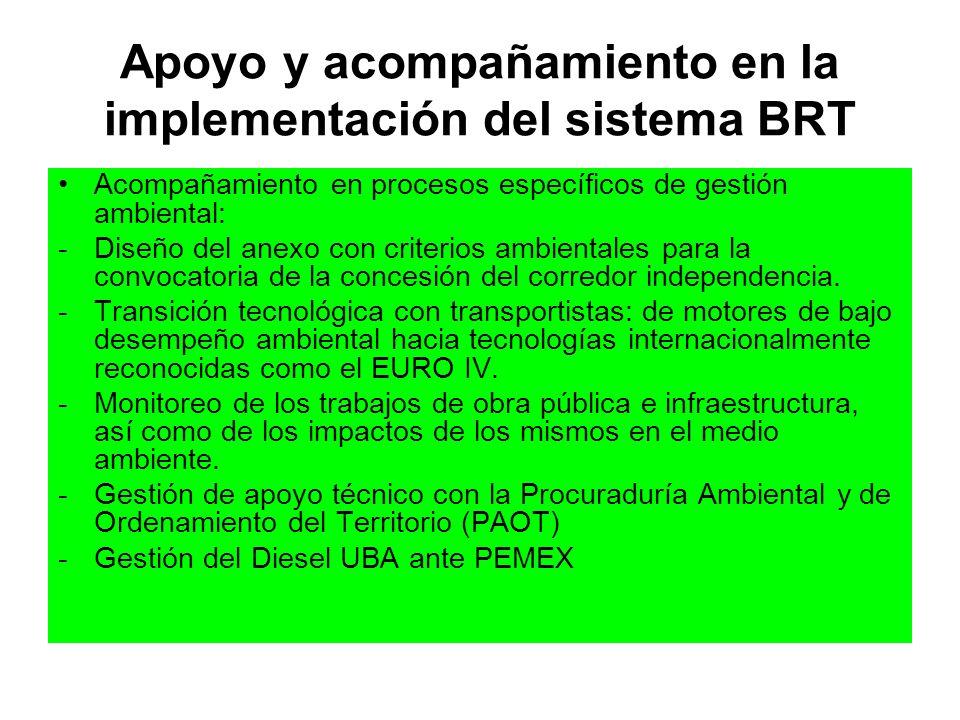Apoyo y acompañamiento en la implementación del sistema BRT Acompañamiento en procesos específicos de gestión ambiental: -Diseño del anexo con criteri
