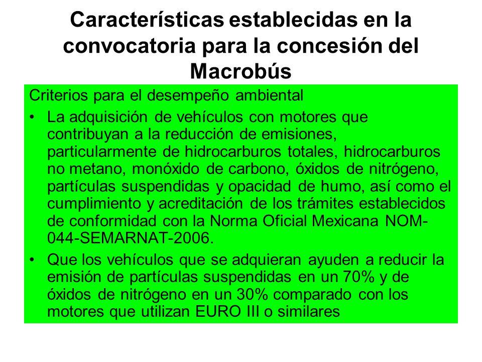 Características establecidas en la convocatoria para la concesión del Macrobús Criterios para el desempeño ambiental La adquisición de vehículos con m