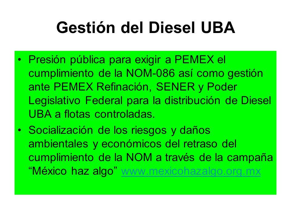 Gestión del Diesel UBA Presión pública para exigir a PEMEX el cumplimiento de la NOM-086 así como gestión ante PEMEX Refinación, SENER y Poder Legisla