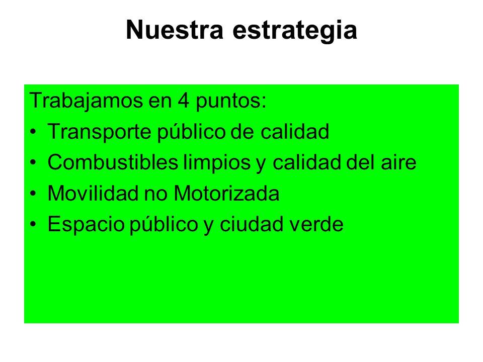 Nuestra estrategia Trabajamos en 4 puntos: Transporte público de calidad Combustibles limpios y calidad del aire Movilidad no Motorizada Espacio públi