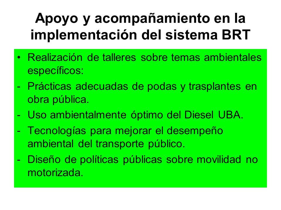 Apoyo y acompañamiento en la implementación del sistema BRT Realización de talleres sobre temas ambientales específicos: -Prácticas adecuadas de podas