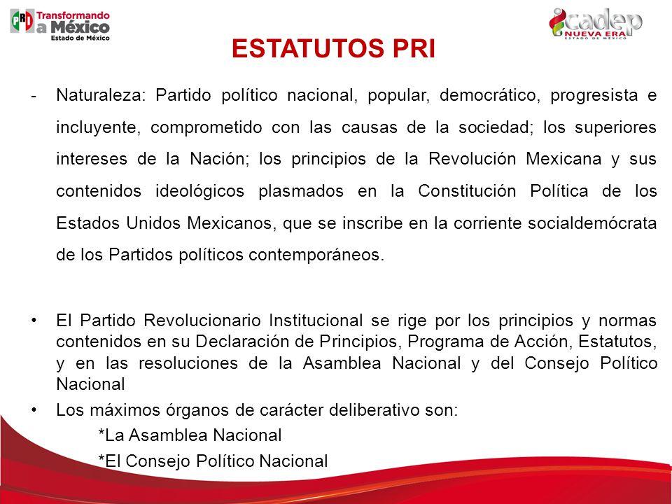 -Naturaleza: Partido político nacional, popular, democrático, progresista e incluyente, comprometido con las causas de la sociedad; los superiores int