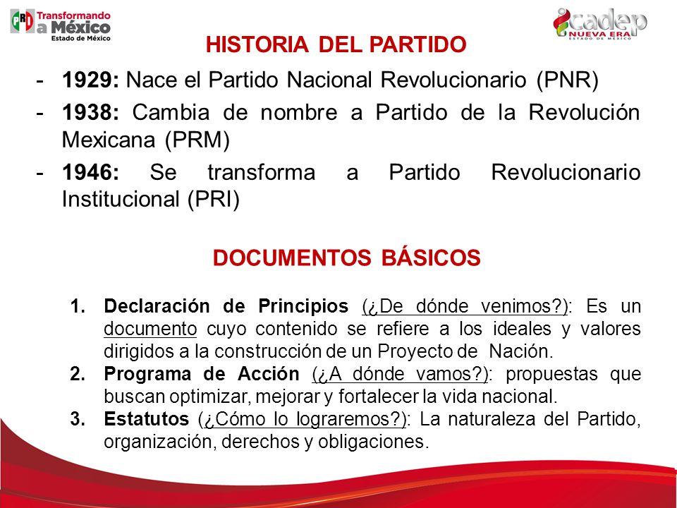 HISTORIA DEL PARTIDO -1929: Nace el Partido Nacional Revolucionario (PNR) -1938: Cambia de nombre a Partido de la Revolución Mexicana (PRM) -1946: Se
