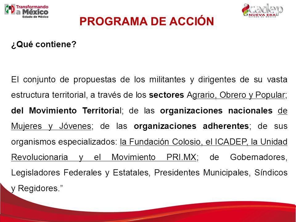 TEMAS: 1.EL PRI EN EL CONTEXTO DE UN ESTADO EFICAZ 2.DE LA PRESIDENCIA DEMOCRÁTICA 3.SOCIEDAD DE DERECHOS Y LIBERTADES 4.EDUCACIÓN DE CALIDAD Y NUEVO MODELO DE PROFESIONALIZACIÓN EDUCATIVA 5.SEGURIDAD Y JUSTICIA DEMOCRÁTICAS 6.NUEVA ESTRATEGIA DE DESARROLLO ECONÓMICO 7.MÉXICO, ACTOR RESPETADO E INFLUYENTE EN EL ENTORNO MUNDIAL 8.COMPROMISO CON LA CAPACITACIÓN POLÍTICA Y LA FORMACIÓN IDEOLÓGICA PROGRAMA DE ACCIÓN