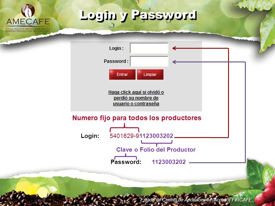 Login: 5401629-91123003202 Clave o Folio del Productor Numero fijo para todos los productores Password: 1123003202 Login y Password