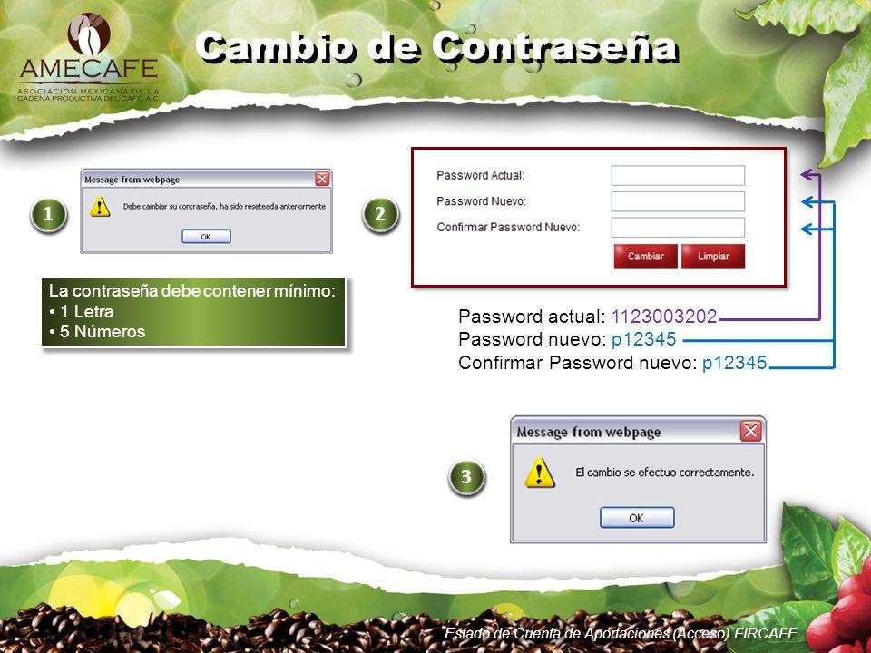 Password actual: 1123003202 Password nuevo: p12345 Confirmar Password nuevo: p12345 3 3 Estado de Cuenta de Aportaciones (Acceso) FIRCAFE 1 1 Cambio d