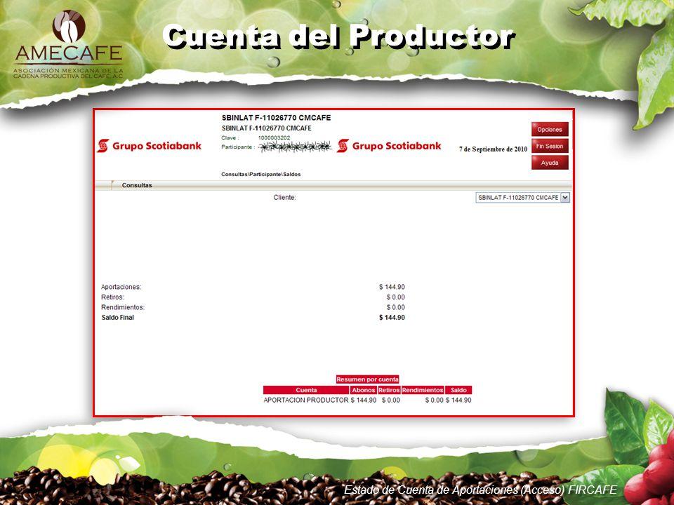 Estado de Cuenta de Aportaciones (Acceso) FIRCAFE Cuenta del Productor Para cualquier duda o aclaración no dudes en contactarnos a través de: (www.amecafe.org.mx) Teléfonos (0155) 5688 2398 5688 3505www.amecafe.org.mx