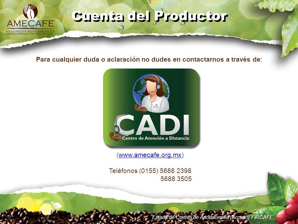 Estado de Cuenta de Aportaciones (Acceso) FIRCAFE Cuenta del Productor Para cualquier duda o aclaración no dudes en contactarnos a través de: (www.ame