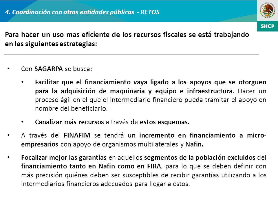 4. Coordinación con otras entidades públicas - RETOS Con SAGARPA se busca: Facilitar que el financiamiento vaya ligado a los apoyos que se otorguen pa