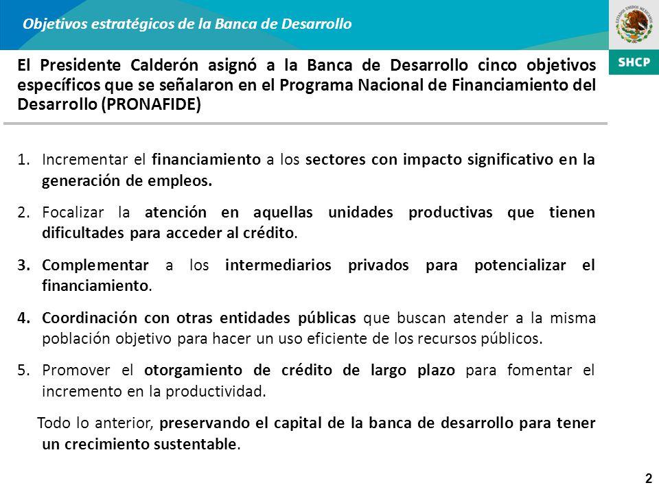 2 Objetivos estratégicos de la Banca de Desarrollo El Presidente Calderón asignó a la Banca de Desarrollo cinco objetivos específicos que se señalaron