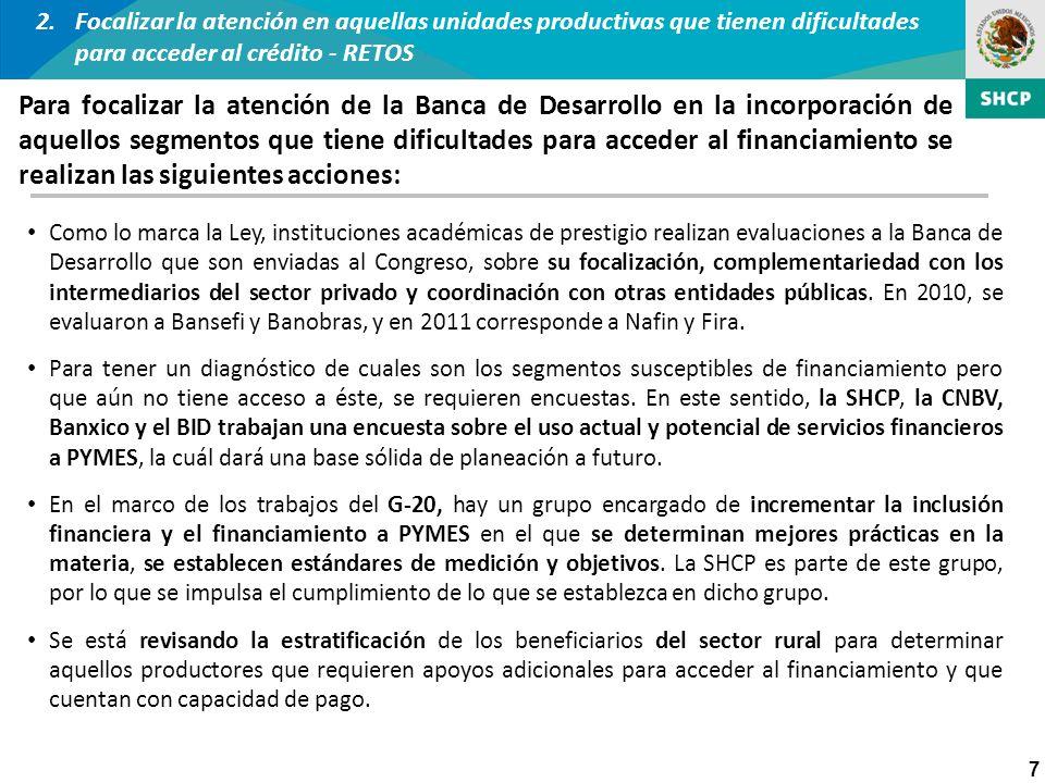 7 Como lo marca la Ley, instituciones académicas de prestigio realizan evaluaciones a la Banca de Desarrollo que son enviadas al Congreso, sobre su fo