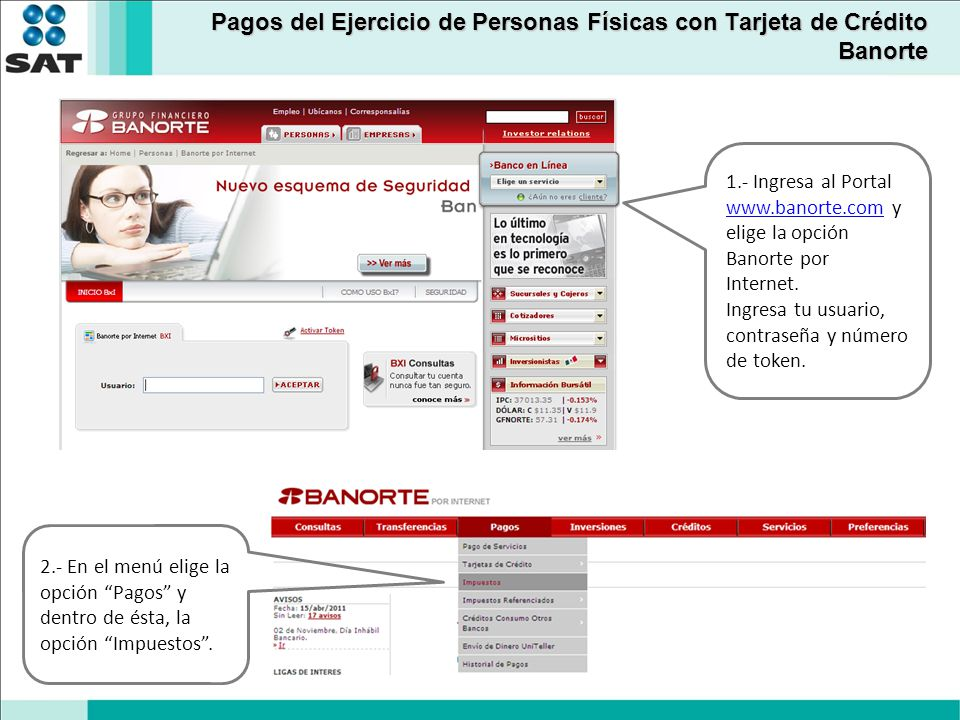Banorte 1.- Ingresa al Portal www.banorte.com y elige la opción Banorte por Internet. www.banorte.com Ingresa tu usuario, contraseña y número de token