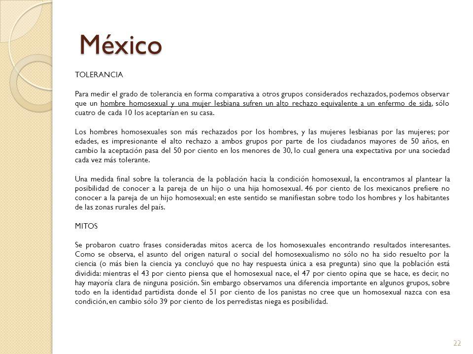 México TOLERANCIA Para medir el grado de tolerancia en forma comparativa a otros grupos considerados rechazados, podemos observar que un hombre homose