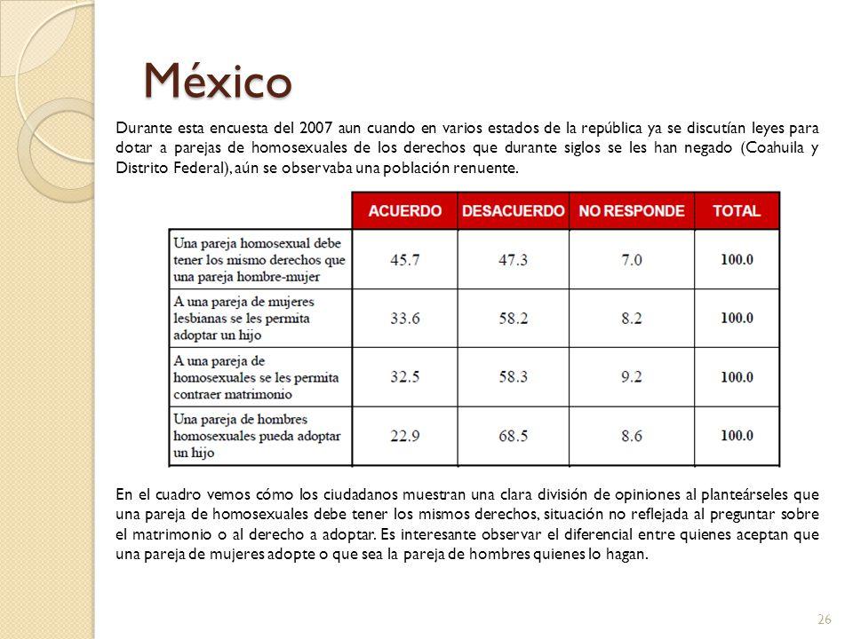 México Durante esta encuesta del 2007 aun cuando en varios estados de la república ya se discutían leyes para dotar a parejas de homosexuales de los d