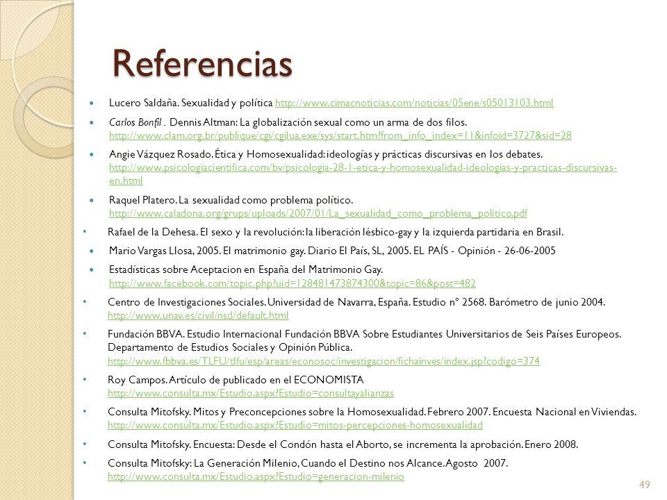 Referencias Lucero Saldaña. Sexualidad y política http://www.cimacnoticias.com/noticias/05ene/s05013103.htmlhttp://www.cimacnoticias.com/noticias/05en