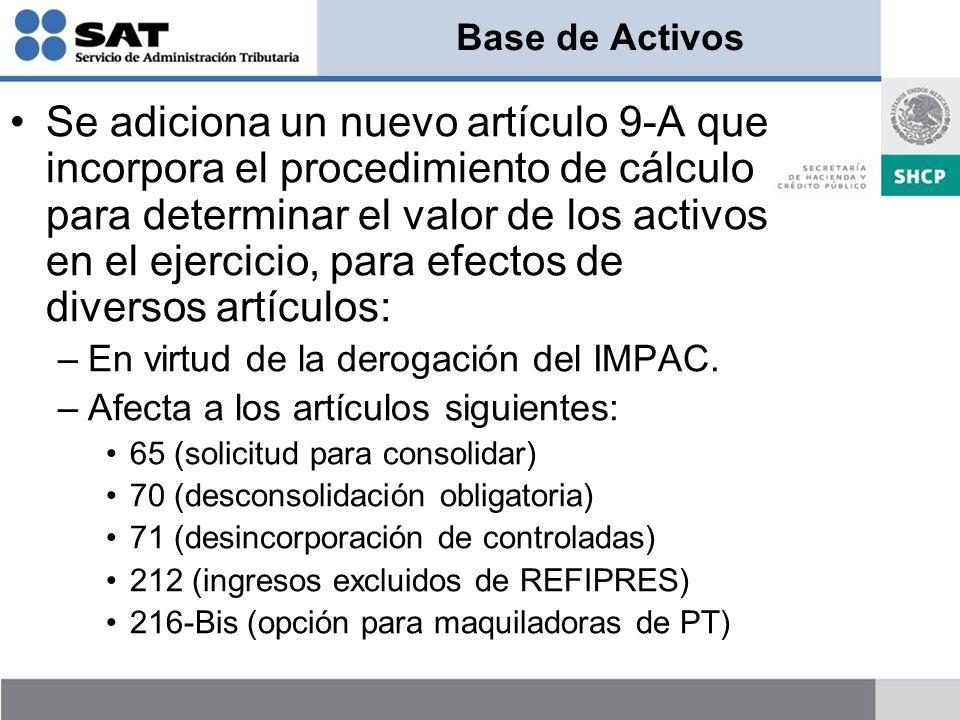 Base de Activos Se adiciona un nuevo artículo 9-A que incorpora el procedimiento de cálculo para determinar el valor de los activos en el ejercicio, para efectos de diversos artículos: –En virtud de la derogación del IMPAC.