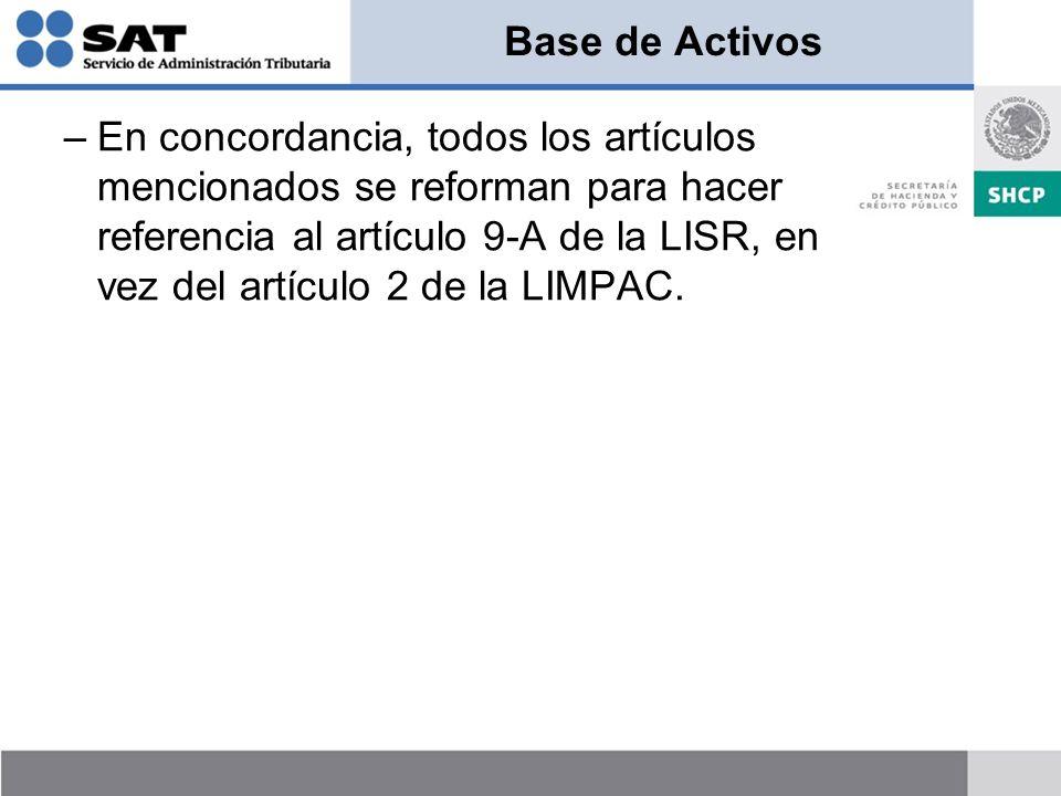 Base de Activos –En concordancia, todos los artículos mencionados se reforman para hacer referencia al artículo 9-A de la LISR, en vez del artículo 2 de la LIMPAC.