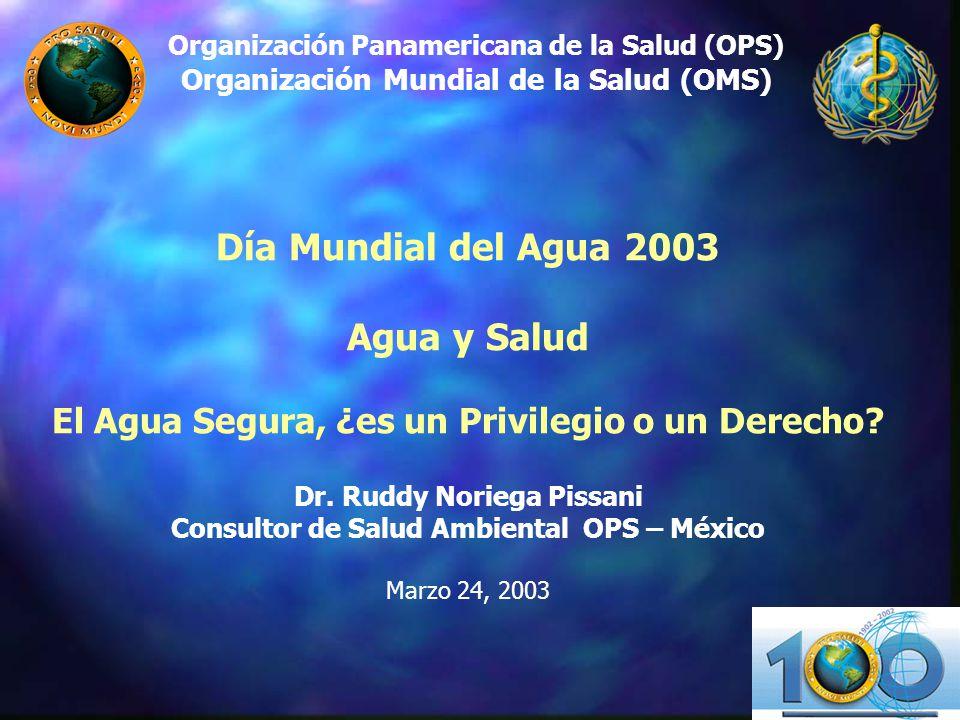 Organización Panamericana de la Salud (OPS) Organización Mundial de la Salud (OMS) Día Mundial del Agua 2003 Agua y Salud El Agua Segura, ¿es un Privi