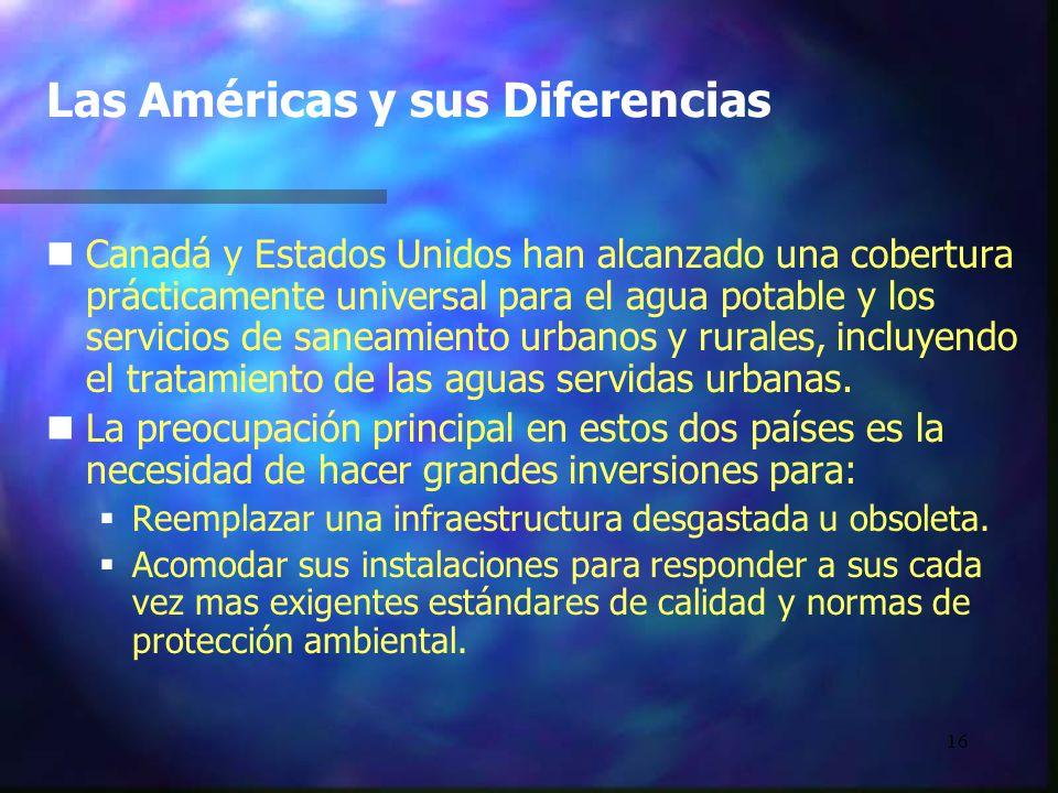 16 Las Américas y sus Diferencias n nCanadá y Estados Unidos han alcanzado una cobertura prácticamente universal para el agua potable y los servicios