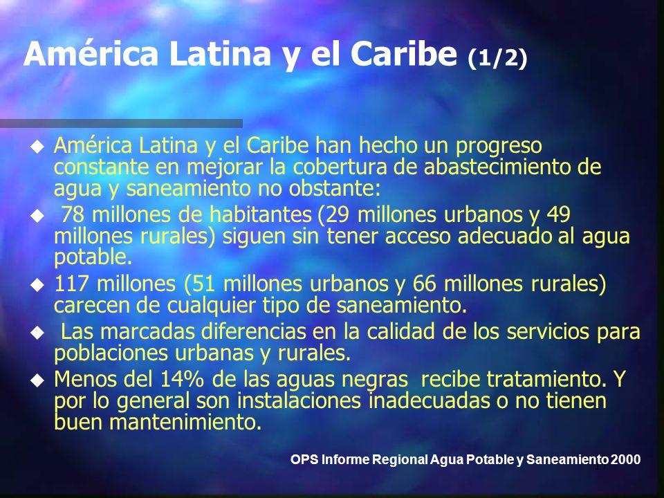 17 América Latina y el Caribe (1/2) u u América Latina y el Caribe han hecho un progreso constante en mejorar la cobertura de abastecimiento de agua y