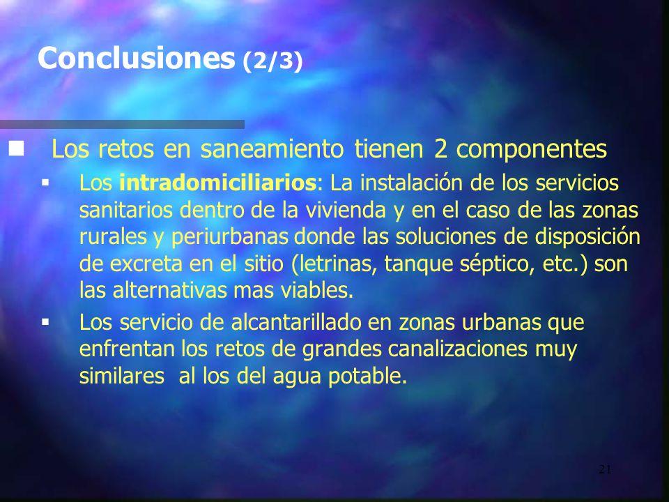 21 Conclusiones (2/3) n nLos retos en saneamiento tienen 2 componentes Los intradomiciliarios: La instalación de los servicios sanitarios dentro de la