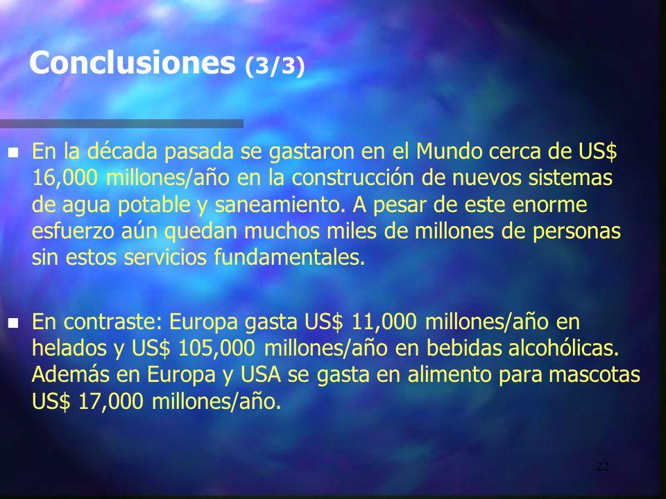 22 Conclusiones (3/3) n n En la década pasada se gastaron en el Mundo cerca de US$ 16,000 millones/año en la construcción de nuevos sistemas de agua p