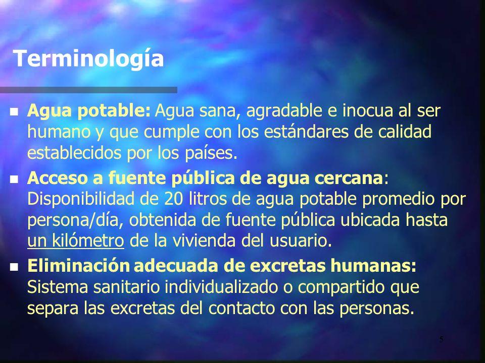 5 Terminología n n Agua potable: Agua sana, agradable e inocua al ser humano y que cumple con los estándares de calidad establecidos por los países. n