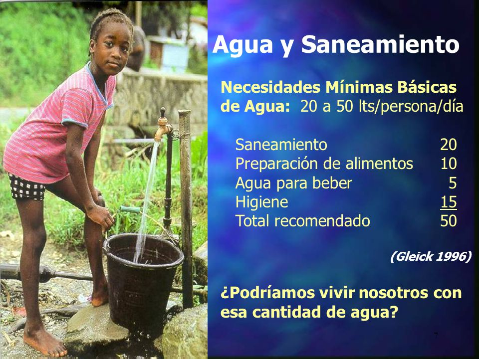 7 Necesidades Mínimas Básicas de Agua: 20 a 50 lts/persona/día Saneamiento 20 Preparación de alimentos 10 Agua para beber 5 Higiene15 Total recomendad