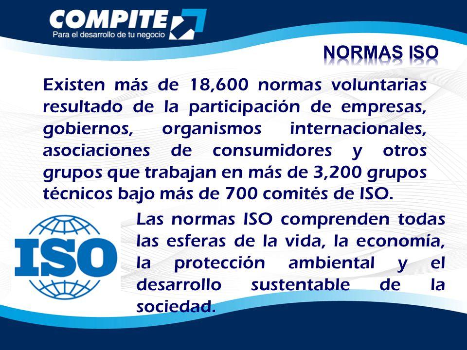 Existen más de 18,600 normas voluntarias resultado de la participación de empresas, gobiernos, organismos internacionales, asociaciones de consumidore