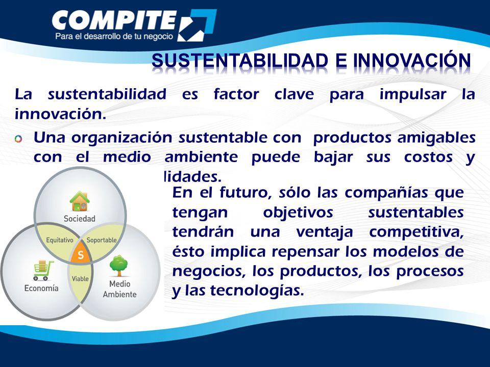 La sustentabilidad es factor clave para impulsar la innovación. Una organización sustentable con productos amigables con el medio ambiente puede bajar