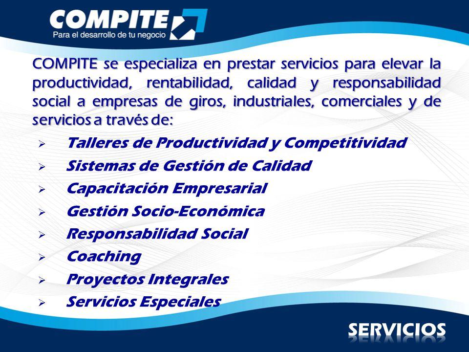 Talleres de Productividad y Competitividad Sistemas de Gestión de Calidad Capacitación Empresarial Gestión Socio-Económica Responsabilidad Social Coac