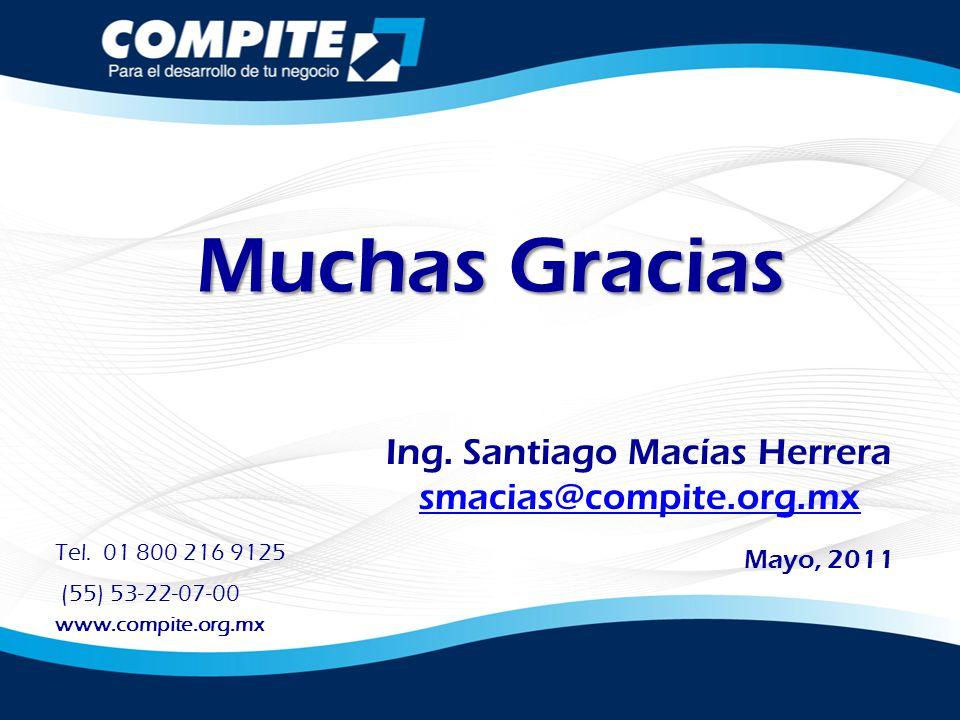 Muchas Gracias Ing. Santiago Macías Herrera smacias@compite.org.mx Mayo, 2011 Tel. 01 800 216 9125 (55) 53-22-07-00 www.compite.org.mx