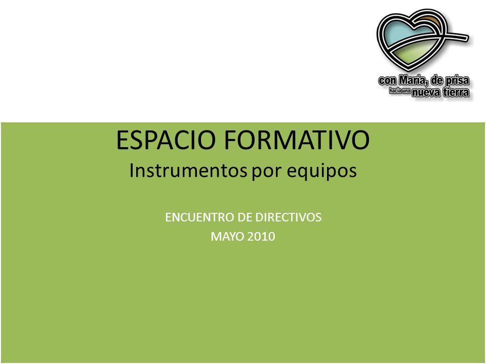 ESPACIO FORMATIVO Instrumentos por equipos ENCUENTRO DE DIRECTIVOS MAYO 2010