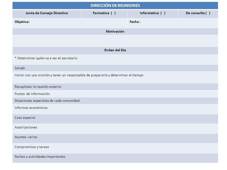 DIRECCIÓN DE REUNIONES Junta de Consejo DirectivoFormativa ( )Informativa ( )De consulta ( ) Objetivo:Fecha : Motivación Orden del Día * Determinar qu