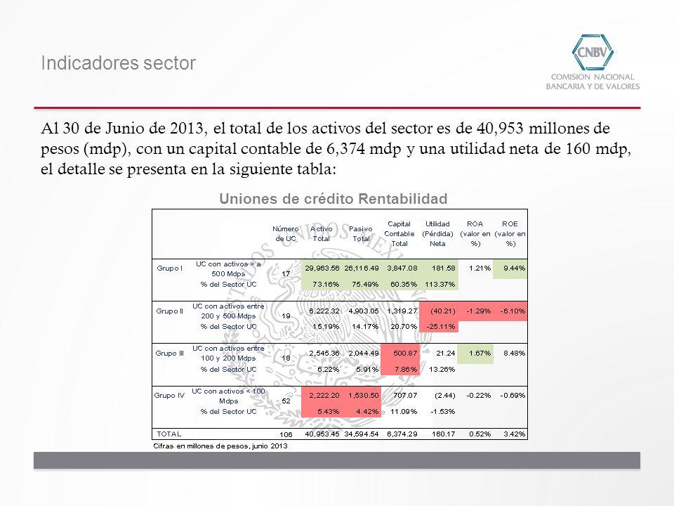 Indicadores sector Uniones de crédito Rentabilidad Al 30 de Junio de 2013, el total de los activos del sector es de 40,953 millones de pesos (mdp), co