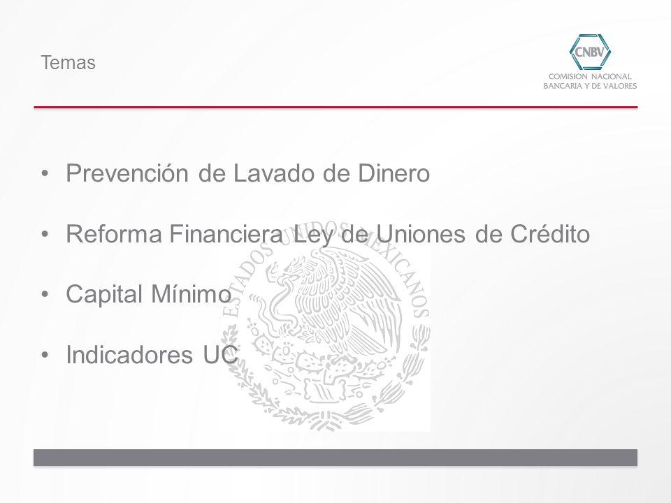 Prevención de Lavado de Dinero Reforma Financiera Ley de Uniones de Crédito Capital Mínimo Indicadores UC Temas