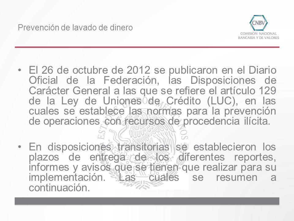 El 26 de octubre de 2012 se publicaron en el Diario Oficial de la Federación, las Disposiciones de Carácter General a las que se refiere el artículo 1