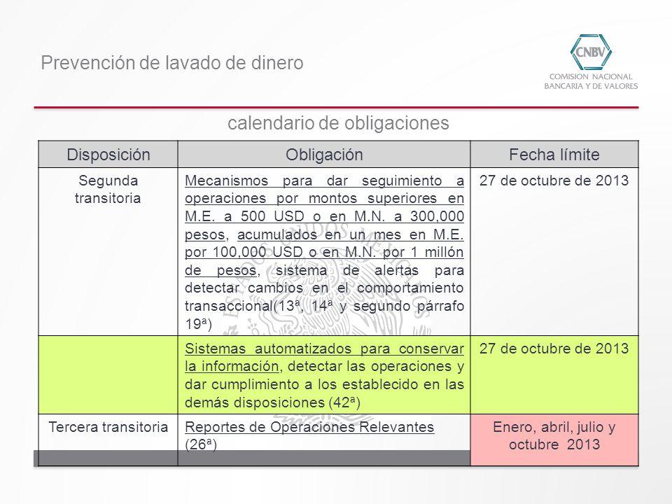 Prevención de lavado de dinero DisposiciónObligaciónFecha límite Segunda transitoria Mecanismos para dar seguimiento a operaciones por montos superior