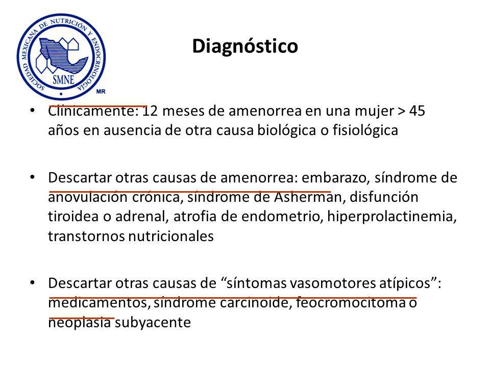 Diagnóstico Clínicamente: 12 meses de amenorrea en una mujer > 45 años en ausencia de otra causa biológica o fisiológica Descartar otras causas de amenorrea: embarazo, síndrome de anovulación crónica, síndrome de Asherman, disfunción tiroidea o adrenal, atrofia de endometrio, hiperprolactinemia, transtornos nutricionales Descartar otras causas de síntomas vasomotores atípicos: medicamentos, síndrome carcinoide, feocromocitoma o neoplasia subyacente