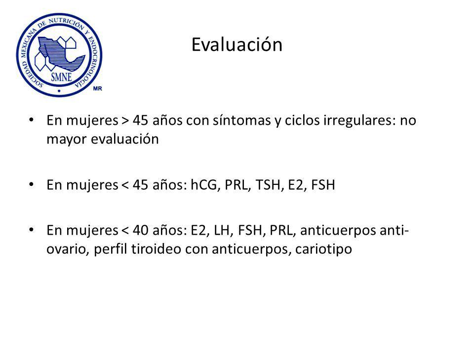 Evaluación En mujeres > 45 años con síntomas y ciclos irregulares: no mayor evaluación En mujeres < 45 años: hCG, PRL, TSH, E2, FSH En mujeres < 40 años: E2, LH, FSH, PRL, anticuerpos anti- ovario, perfil tiroideo con anticuerpos, cariotipo
