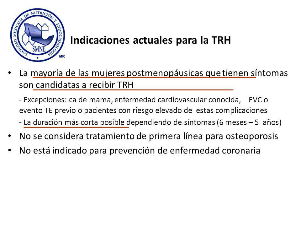 Indicaciones actuales para la TRH La mayoría de las mujeres postmenopáusicas que tienen síntomas son candidatas a recibir TRH - Excepciones: ca de mam