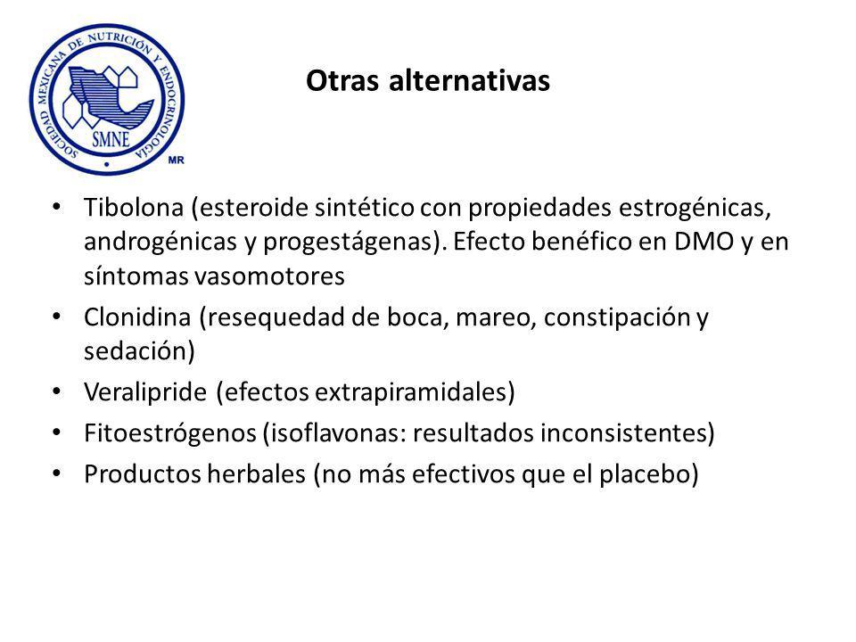 Otras alternativas Tibolona (esteroide sintético con propiedades estrogénicas, androgénicas y progestágenas). Efecto benéfico en DMO y en síntomas vas