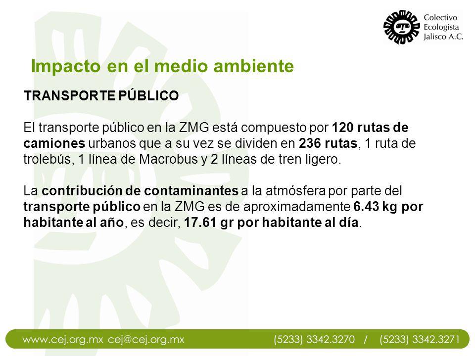 TRANSPORTE PÚBLICO El transporte público en la ZMG está compuesto por 120 rutas de camiones urbanos que a su vez se dividen en 236 rutas, 1 ruta de tr